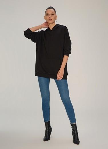 NGSTYLE Oversize Kapişonlu Sweatshirt Siyah
